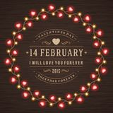Happy Valentine's Day Glowing Decoration Light Stock Photography