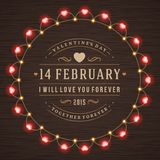 Happy Valentine's Day Glowing Decoration Light Royalty Free Stock Photography