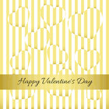 Happy Valentine`s Day. Gold card, hearts, stripes. Happy Valentine`s Day. Gold card, hearts on a striped background Royalty Free Stock Photography