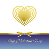 Happy Valentine`s Day. Gold heart, gold bow, gold ribbon. White and blue background with a gradient Stock Photos