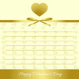Happy Valentine`s Day. Gold hearts, gold bow, gold ribbon. Form for congratulations Stock Photography
