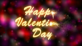 Happy Valentine`s Day Gold Text. Valentine`s day abstract background,flying hearts and particles. stock footage