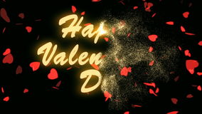 Happy Valentine`s Day Gold Text. Valentine`s day abstract background,flying hearts and particles. Black background stock video footage