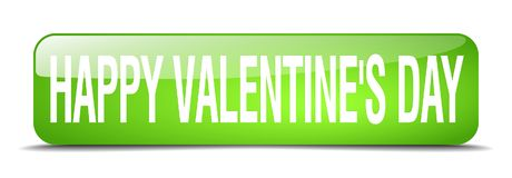 Happy Valentine`s day green square 3d isolated web button. Happy Valentine`s day green square 3d realistic isolated web button Royalty Free Stock Photography