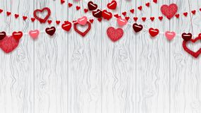 Happy Valentine`s Day Greeting Background. Romantic composition with falling garlands from paper and with hearts from threads. Beautiful Festive animation stock video footage