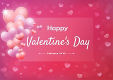 Happy Valentine`s Day greeting card. Abstract background with hearts. Celebratory banner, greeting card with Valentine`s Day on a gentle pink background with stock illustration