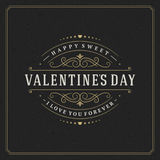 Happy Valentine's day Greeting Card and black Royalty Free Stock Photo