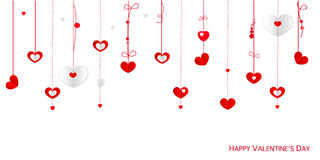 Happy Valentine's Day greeting card with border design hanging hearts vector background Stock Photos