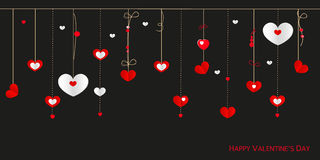 Happy Valentine's Day greeting card with border design hanging hearts vector background Royalty Free Stock Photos