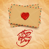 Happy Valentine's Day  greeting card, brush pen lettering Stock Image