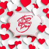 Happy Valentine's Day greeting card, brush pen lettering and paper hearts Stock Image