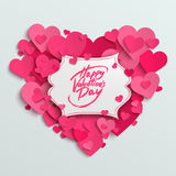 Happy Valentine's Day  greeting card, brush pen lettering on white banner Stock Photos