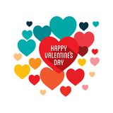 Happy valentine`s day greeting design. Happy valentine`s day greeting card, colorful heart shape background Royalty Free Stock Images