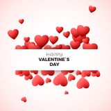 Happy Valentine`s day greeting card concept. Design template for invitation on wedding or Valentines day decorate hearts and label Royalty Free Stock Photography