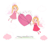 Happy Valentine`s day greeting card. Cute fairy tale holding heart Royalty Free Stock Photo