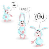 Happy Valentine's day Greeting Card. Declaration. A set of funny bunny. Valentine's day illustration Royalty Free Stock Image