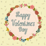 Happy Valentine's Day Greeting Card. Floral frame Stock Image