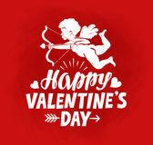 Happy Valentine`s Day, greeting card. Flying angel, cherub or cupid with bow and arrow. Happy Valentine`s Day, greeting card. Flying angel, cherub or cupid Royalty Free Stock Photography
