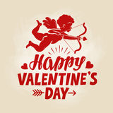 Happy Valentine`s Day, greeting card. Flying angel, cherub or cupid with bow and arrow. Vintage vector illustration. Happy Valentine`s Day, greeting card. Flying Stock Images