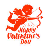 Happy Valentine`s Day, greeting card. Flying angel or cupid with bow and arrow.. Vector illustration isolated on white background Royalty Free Stock Photo
