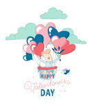 Happy Valentine`s Day greeting card funny boy flying heart balloons Stock Photos