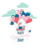 Happy Valentine`s Day greeting card funny boy flying heart balloons Stock Photography