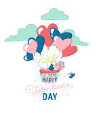 Happy Valentine`s Day greeting card funny girl flying heart balloons Royalty Free Stock Photos