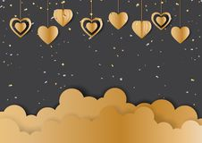 Gold hanging hearts shape and cloud on black background. Happy valentine`s day greeting card with golden confetti and hearts hanging on black background.Vector Royalty Free Stock Photography