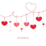 Happy Valentine's Day greeting card with hanging hearts vector Royalty Free Stock Photos