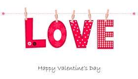 Happy Valentine's Day greeting card hanging love writing vector background Stock Photo