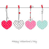 Happy Valentine's Day greeting card with hanging retro hearts vector Stock Image