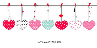 Happy Valentine's Day greeting card with hanging retro hearts vector. Background Stock Photography