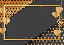 Happy valentine`s day greeting card. With golden frame and gold hearts hanging on black background.Vector illustration Royalty Free Stock Image
