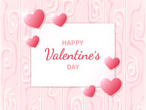 Happy Valentine`s Day. Greeting card with hearts on the abstract background.. Lettering in the middle. Festive romantic love illustration. Vector Stock Images