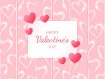 Happy Valentine`s Day. Greeting card with hearts on the abstract hearts background. Lettering in the middle. Festive romantic love illustration. Vector Stock Images