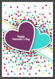 Happy Valentine`s Day greeting card with hearts background. Vect Stock Photography