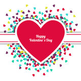 Happy Valentine`s Day greeting card with hearts background. Vect Royalty Free Stock Photos