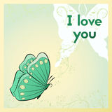 Happy Valentine`s day. Greeting card, I love you. Postcard with green butterfly. Royalty Free Stock Photography