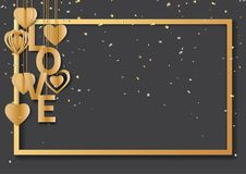Gold love text and frame on black background. Happy valentine`s day greeting card with love text,golden frame and hearts hanging on black background.Vector Stock Photography
