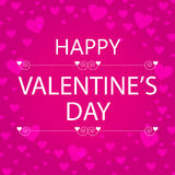 Happy valentine's day greeting card with pink hearts Stock Photography