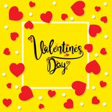 Happy valentine`s day greeting design. Happy valentine`s day greeting card, random red heart pattern background design Royalty Free Stock Images