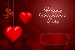 Happy Valentine`s Day. Greeting Card on red background Royalty Free Stock Photography