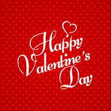 Happy Valentine's Day Greeting Card on red background.  Stock Photos