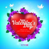 Happy Valentine`s Day greeting card with red heart and flying birds on blue sky background. Vector illustration. Perfect to use for print layouts, web banners Royalty Free Stock Images