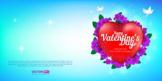Happy Valentine`s Day greeting card with red heart and flying birds on blue sky background. Vector illustration. Perfect to use for print layouts, web banners Stock Photography