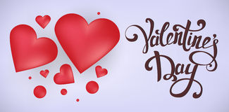 Happy Valentine`s Day greeting card. Red hearts with 3D effect on gentle light purple background Royalty Free Stock Image
