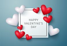 Happy valentine`s Day greeting card. Vector background. Eps10. Happy valentine`s Day greeting card with red and white hearts. Vector background. Eps10 vector illustration