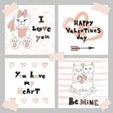 Happy Valentine s day. Greeting card set with cute kittens and teddy bear. Cute Hand drawn holiday cards and invitations Royalty Free Stock Photo
