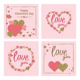 Happy Valentine`s Day greeting card set. Love. Gold and pink col. Ors. Poster. Hand drawn heart. Design for wedding. February 14 banner royalty free illustration
