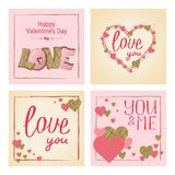 Happy Valentine`s Day greeting card set. Love. Gold and pink col. Ors. Poster. Hand drawn heart. Design for wedding. February 14 banner vector illustration